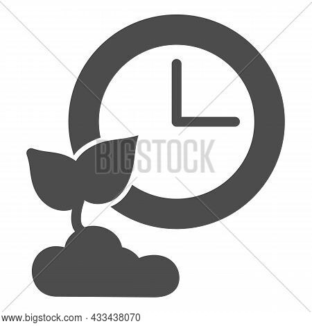 Clock And Sprout In Soil, Growing Time Solid Icon, Gardening Concept, Time Of Growth Vector Sign On