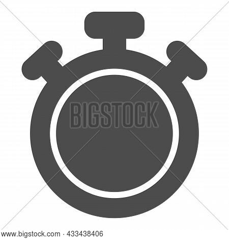 Stopwatch With Button, Full Circle, Chronometer, Timer Solid Icon, Time Concept, Clock Vector Sign O
