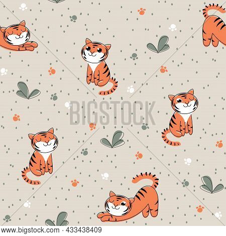 Seamless Children's Pattern With A Tiger Cub On The Grass. Vector Gray Background With Repeating Bab