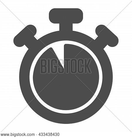 Stopwatch With Buttons, 55 Seconds, Timer, Chronometer Solid Icon, Time Concept, Clock Vector Sign O