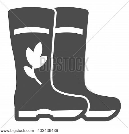 Rubber Boots For Garden With Flower And Leaf Solid Icon, Gardening Concept, Rain Boots Vector Sign O