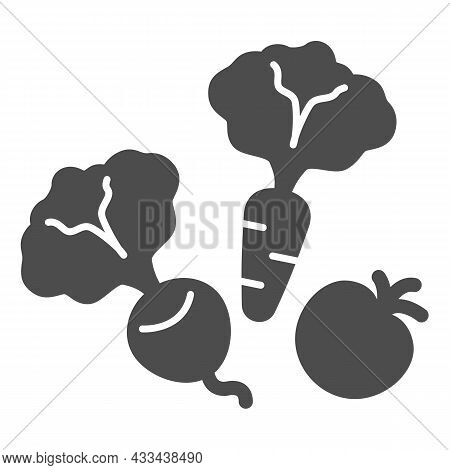 Vegetables, Beetroot, Carrot And Tomato Solid Icon, Gardening Concept, Veggies Vector Sign On White