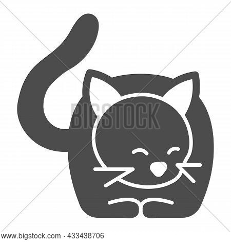 Lying Cat, Kitty With Tail And Whiskers Solid Icon, Pets Concept, Kitten Lies Vector Sign On White B