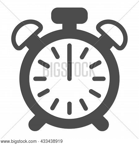 Vintage Alarm Clock With Button, 12 Pm, 12 Am Solid Icon, Time Concept, Timepiece Vector Sign On Whi