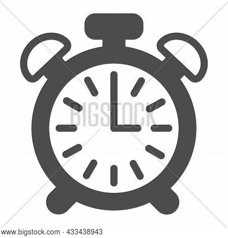 Vintage Alarm Clock With Button, 3 Pm, 3 Am Solid Icon, Time Concept, Timepiece Vector Sign On White