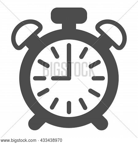 Vintage Alarm Clock With Button, 9 Pm, 9 Am Solid Icon, Time Concept, Timepiece Vector Sign On White