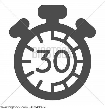 Stopwatch With Buttons, 30 Seconds, Timer, Chronometer Solid Icon, Time Concept, Clock Vector Sign O