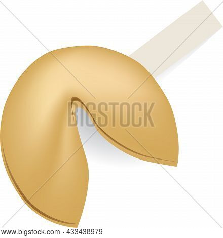 Traditional Fortune Cookie And Rectangular Paper Sheet For Fortune Text.