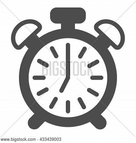 Vintage Alarm Clock With Button, 7 Pm, 7 Am Solid Icon, Time Concept, Timepiece Vector Sign On White