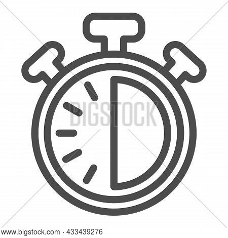 Stopwatch With Buttons, 30 Seconds, Timer, Chronometer Line Icon, Time Concept, Clock Vector Sign On