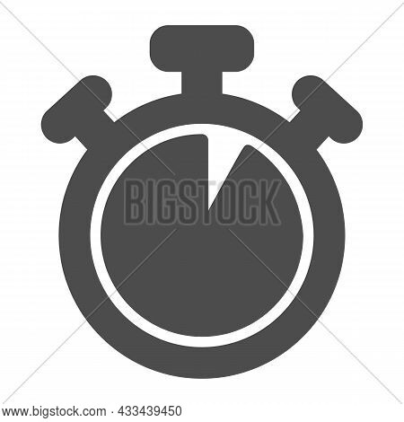 Stopwatch With Buttons, 5 Seconds, Timer, Chronometer Solid Icon, Time Concept, Watch Vector Sign On