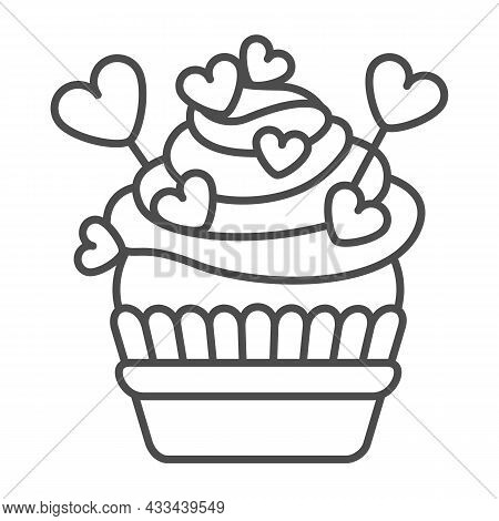 Cupcake With Frosting, Heart On Stick And Sprinkles Thin Line Icon, Pastry Concept, Muffin Vector Si