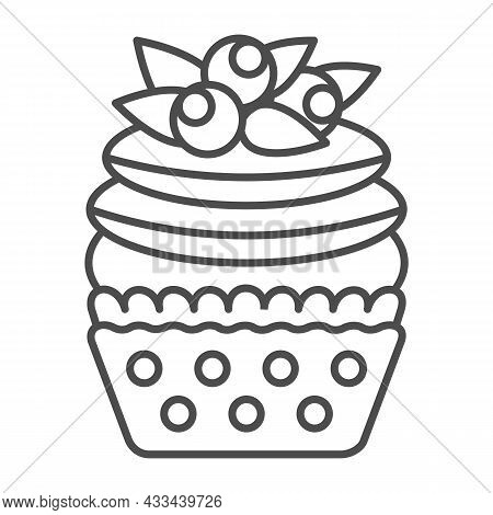 Blueberry Cupcake With Frosting Thin Line Icon, Pastry Concept, Fruit Muffin With Icing Vector Sign