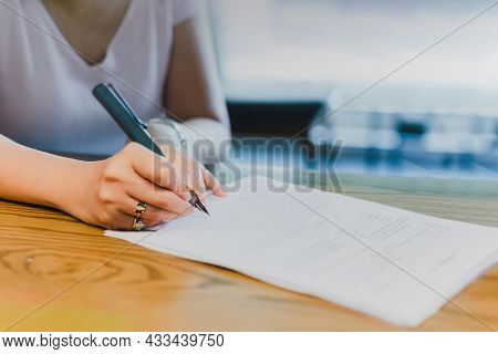 Businesswoman Hand Signing Legal Documents Financial Contract