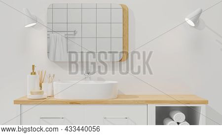 Minimalist And Scandinavian Bathroom Interior Closeup To Space For Montage On Wood Cabinet