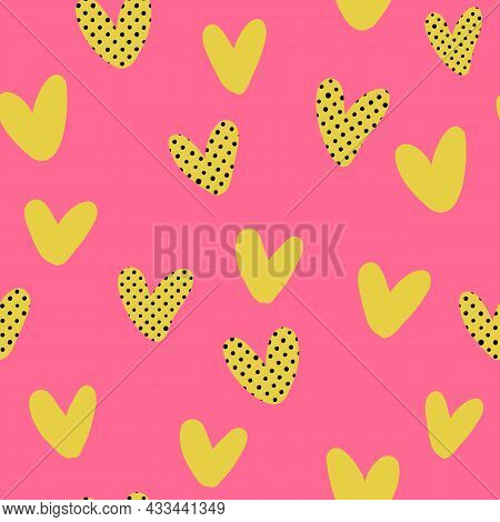 Valentines Day Pop Art Seamless Pattern. Various Hearts With Artistic Hand-drawn Brushstrokes Textur