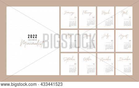 Calendar 2022 Trendy Minimalist Style. Set Of 12 Pages Desk Calendar. 2022 Minimal Calendar Planner