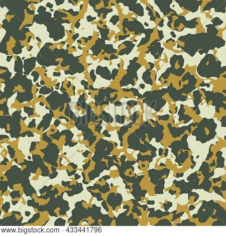 Abstract Military Camouflage Background. Seamless Urban Camo Pattern For Army Clothing. Autumn Yello