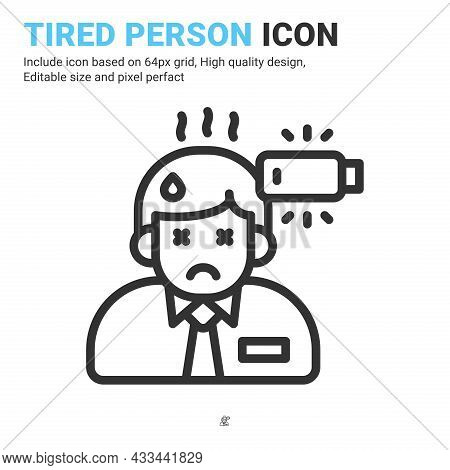Tired Person Icon Thin Line Isolated On White Background. Vector Design Illustration Stress, Burnout