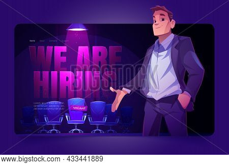 We Are Hiring Landing Page, Employer Offer Vacant Place Illuminated With Spotlight. Hire Job Announc