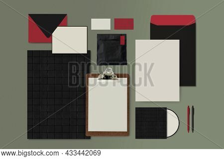 Blank corporate identity set in black and red tone