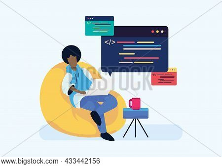 Freelance Programmer Or Engineering Developer Working, Coding, And Programming On Laptop At Home. Fl