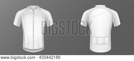 Cycling Jersey, White Bike T-shirt Vector Mockup, Sports Wear Front And Rear View. Sport Clothes, Sh