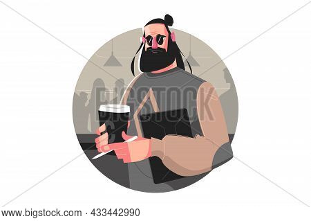 Dude With Tablet In Cafe Vector Illustration. Stylish Bearded Man In Glasses With Laptop Chilling In