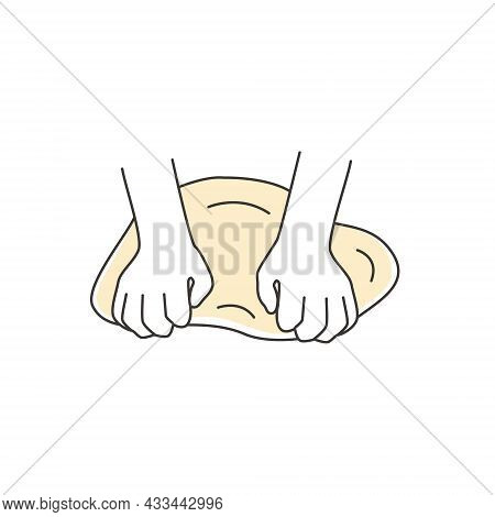 Kneading Dough Outline Icon. Hands And Batter. Homemade Bakery. Making Sourdough Bread Preparation S