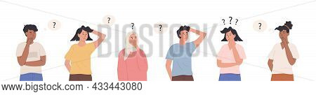 Group Of Diverse Thinking Characters. Collection Of Portraits Of Thoughtful People With Question Mar