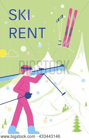 Ski Rent Banner With People Have Relax And Snowsport Fun.