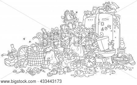 Big Messy Dump Of Household Garbage And Waste, Black And White Outline Vector Cartoon Illustration