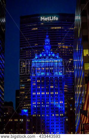 The Helmsley Building Facade In New York City At Night. The Helmsley Building Is A 35-story Building