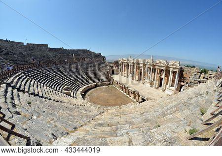 Theater in antique city Hierapolis, Pamukkale, Turkey. UNESCO Object. August 3,2021 Denizly,Turkey
