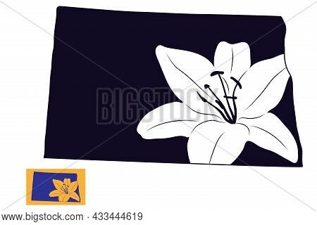 American State Of North Dakota With Lily Flower. Stencil Card. Cut And Sublimation File.
