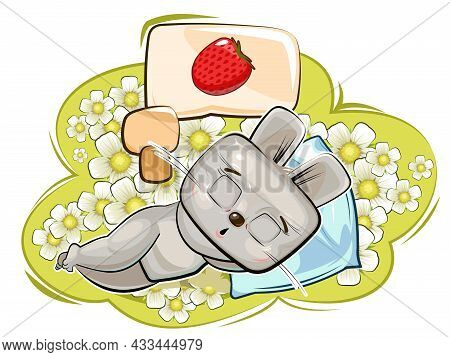 Baby Hare. Meadow And Ripe Strawberry Are Dreaming. Childrens Illustration. Chamomile. The Baby Anim