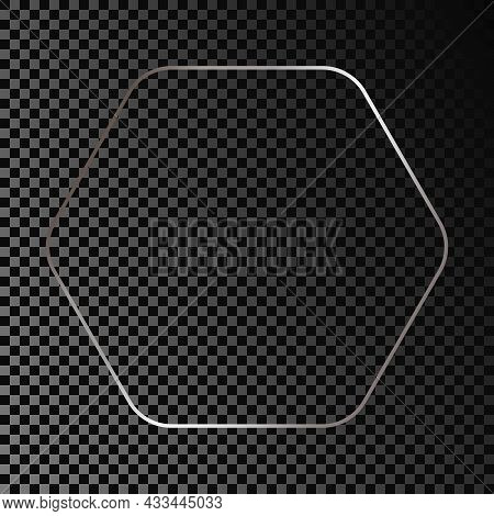 Silver Glowing Rounded Hexagon Frame Isolated On Dark Transparent Background. Shiny Frame With Glowi