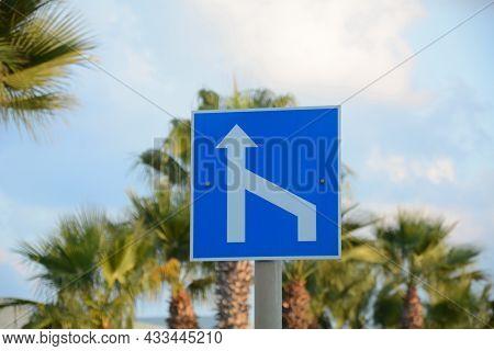 Merging Traffic Signs. Mandatory Signs. Road Signs In Israel