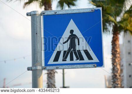 Israel Pedestrian Crossing Sign. Road Signs In Israel