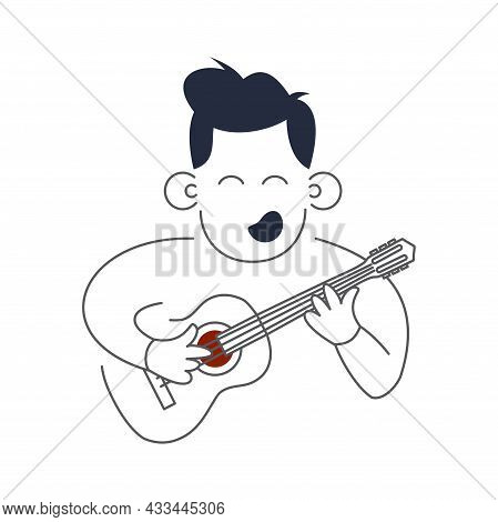 Music Man Holds Guitar Music And Song Concept