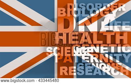 Concept Of Biochemistry With Genome Theme Words List. Flag Of United Kingdom
