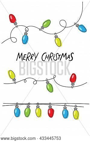 Christmas Card Template With Colorful Glow Light Lamp On Wire Strings And Merry Christmas Text. Ligh