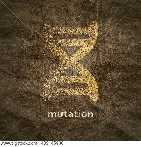 Concept Of Biochemistry With Abstract Dna Symbol In Distorted Style. Mutation Text