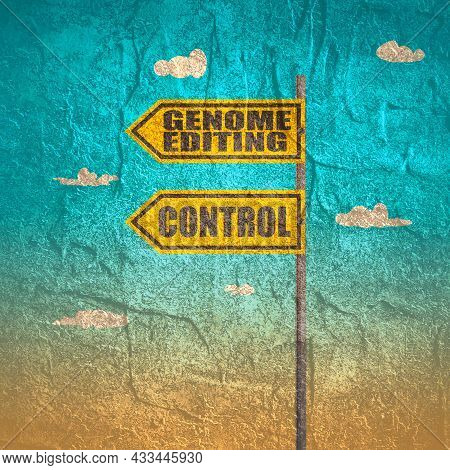 Road Signs With Genome Editing And Control Text