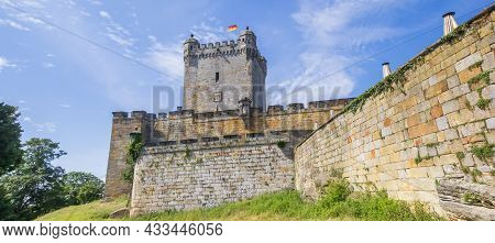 Panorama Of The Surrounding Wall And Tower Of The Historic Castle In Bad Bentheim, Germany