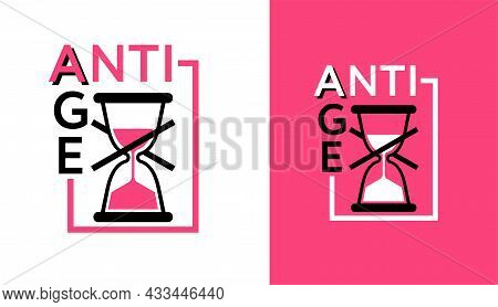 Anti-age Pink Sticker - Badge For Anti-aging Cosmetics Or Cosmetology Products Packaging - Crossed O