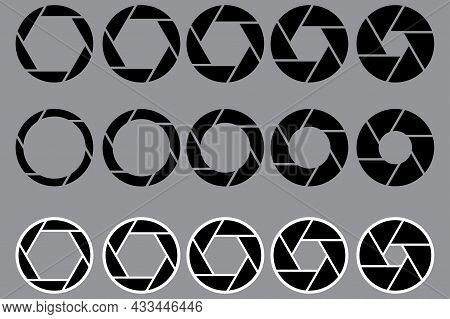Set Of Cameras Shutter Icons. Dark Gray Background. Photography Process Symbols. Vector Illustration