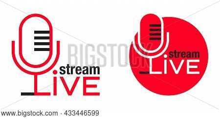 Live Stream Announcement Or Logo Template - Word Integrated In Microphone Silhouette - Creative Vect