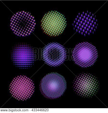 A Collection Of Point Halftone Spheres. Circles Of A Point Texture With The Effect Of Vector Failure