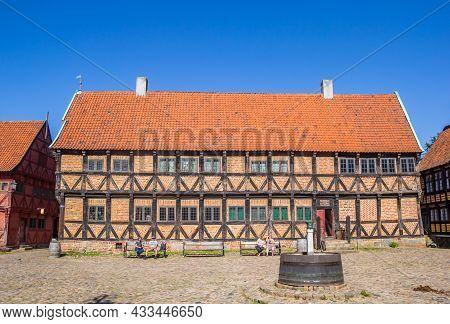 Aarhus, Denmark - September 01, 2021: Central Market Square (torvet) In The Historic Old Town Of Aar
